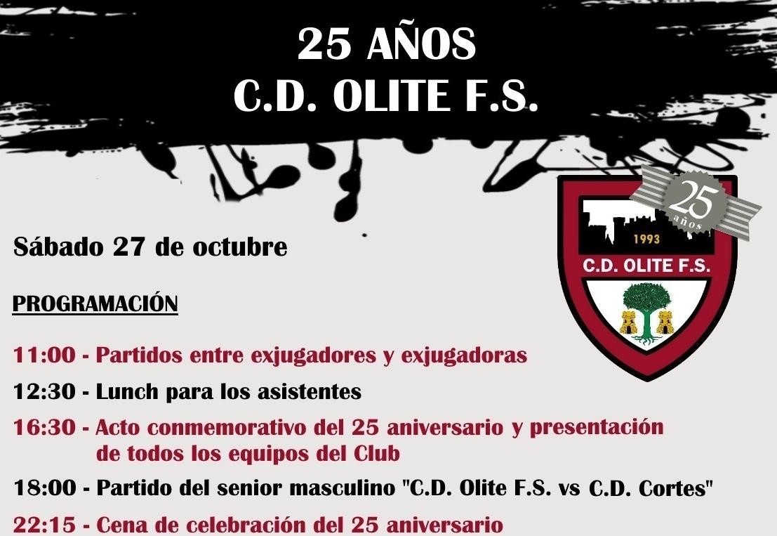 Olite.Este sábado 27 octubre el Club Deportivo Olite Fútbol Sala celebrará su 25 aniversario.