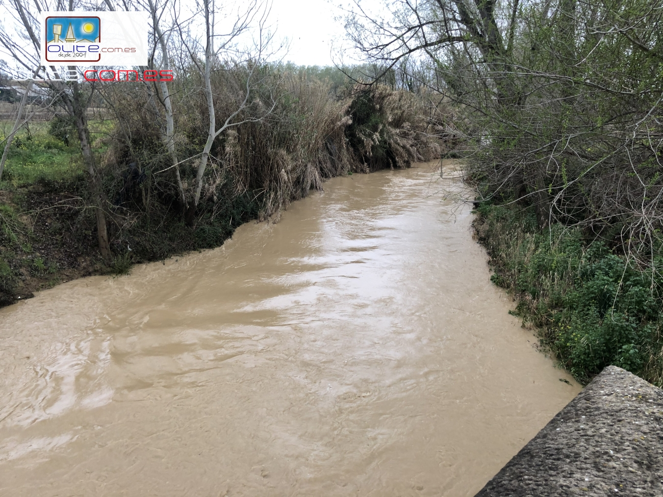Olite.El rio crece y nos recuerda las inundaciones de Julio