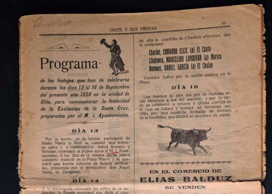 Olite.Curiosidad: El programa de las Fiestas de 1920. Un siglo atrás